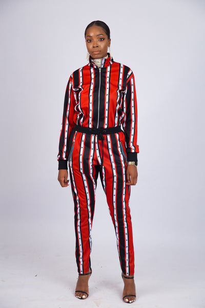 WOMEN'S PUSHAS STRIPE PRINT TRACKSUIT