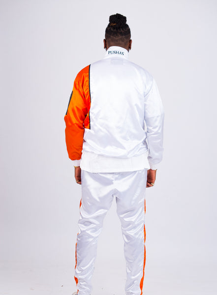 MEN'S WHITE SATIN PANELED TRACKSUIT