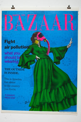BAZAAR MAGAZINE 1975 | Fight Air Pollution | Blacklight Poster