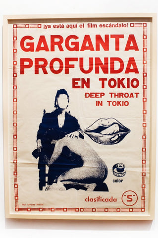 GARGANTA PROFUNDO EN TOKIO | Deep Throat in Tokyo | Vintage Movie Poster, Framed