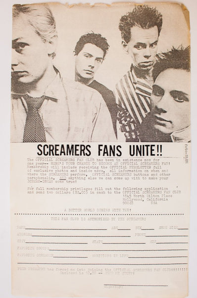 SCREAMERS FAN CLUB | Vintage Flyer