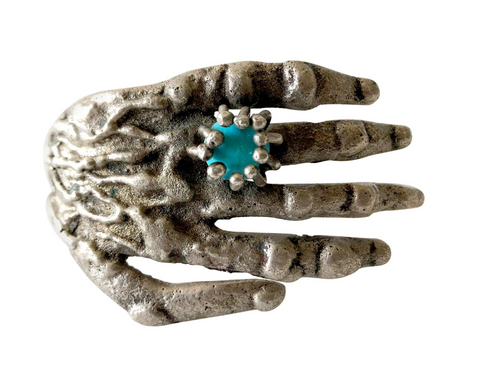Pal Kepenyes Silver and Turquoise Hand Bracelet