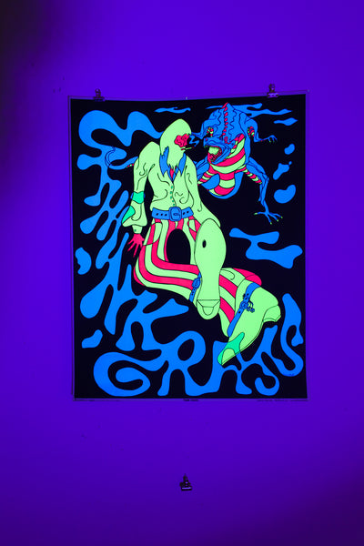 THINK GRASS | Vintage Blacklight Poster