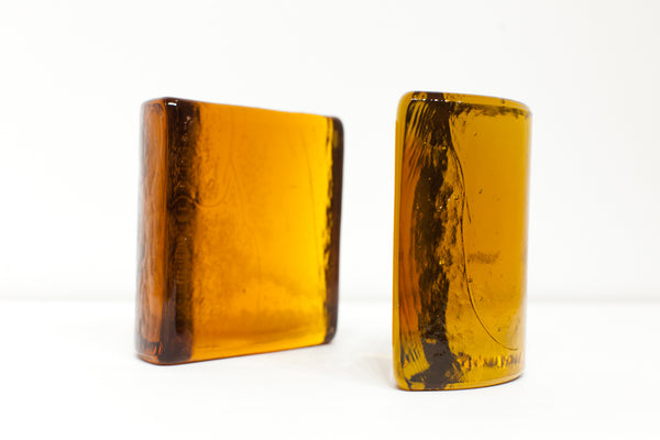 BOOKENDS | Vintage Blenko Amber Glass