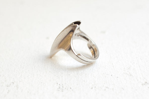 Danish Futuristic Sterling Silver Ring