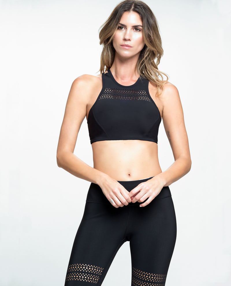 GO WITH THE FLOW CROPPED TOP BLACK
