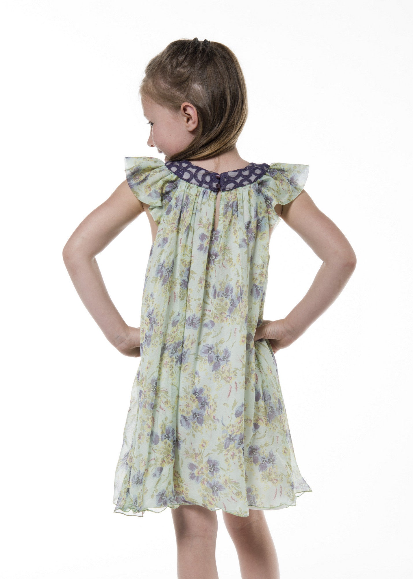 Chiffon silk dress, floral print