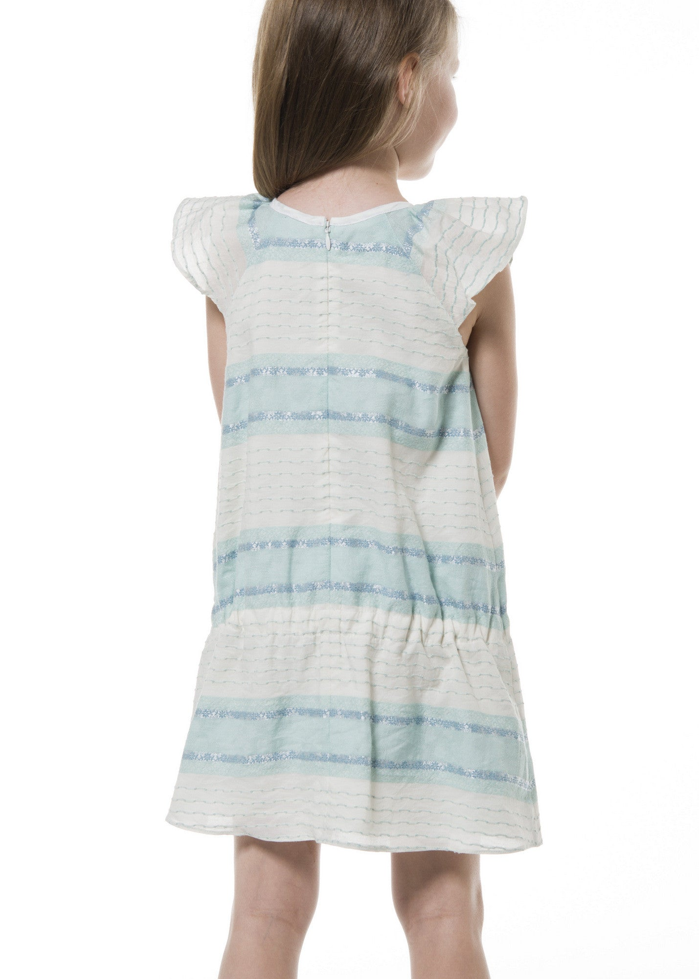 Girl Dress - Embroidered Stripes