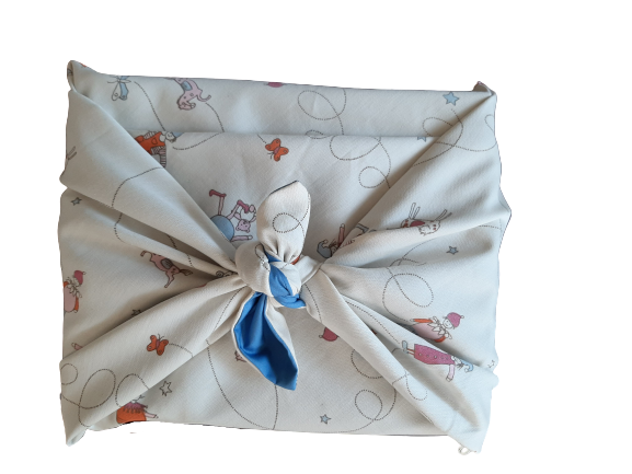 Furoshiki blue clowns - eco-friendly Wrapping fabric- emballage éco-responsable