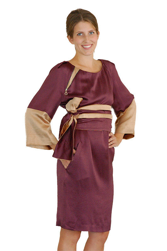 Burgundy long sleeve kimono dress