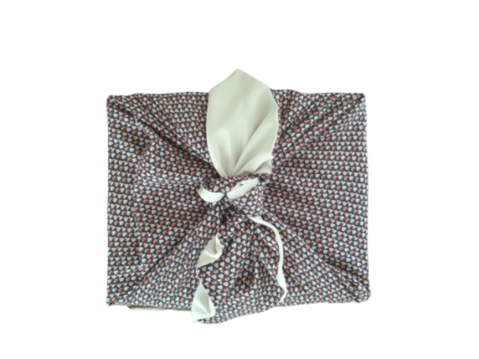 Furoshiki Coeurs Champagne - eco-friendly Wrapping fabric- emballage éco-responsable