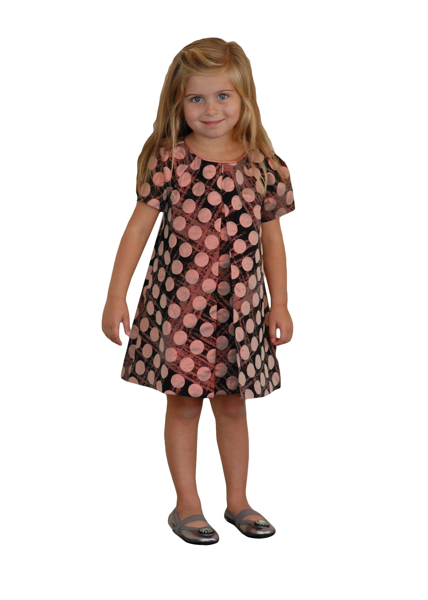Little girl party dress iridescent Black and Pink Polka dot