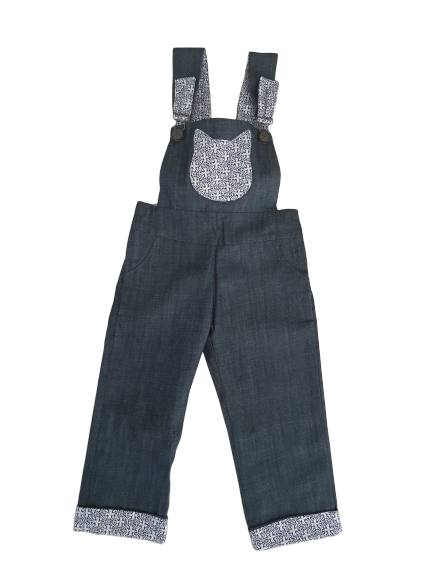 Denim Overall unisex made with organic cotton - Blue- cat pocket detail