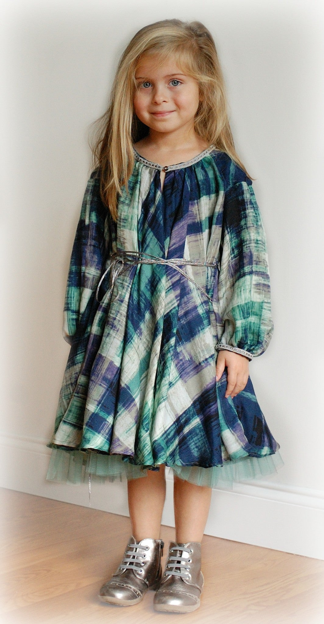 Girl Dress - Green Wool