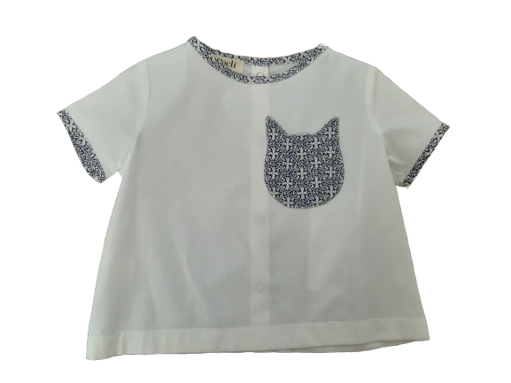 Organic Tee-Shirt - white cotton - blue cat shape pocket