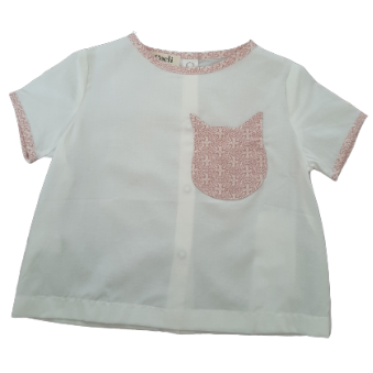 Organic Tee-Shirt - white cotton - pink cat shape pocket
