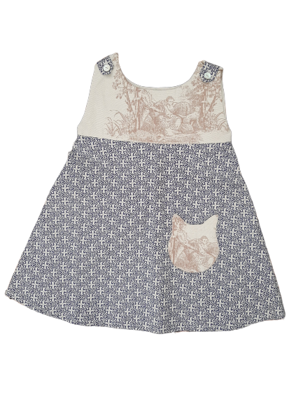 Toile de Jouy little girl dress - Cat pocket detail