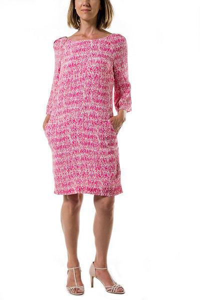 Channing Woman Dress- Fuchsia Zebra