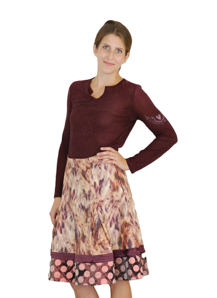 Silk Salmon & Purple pleated skirt