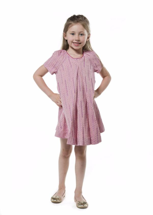 Short sleeve girl dress pink purple