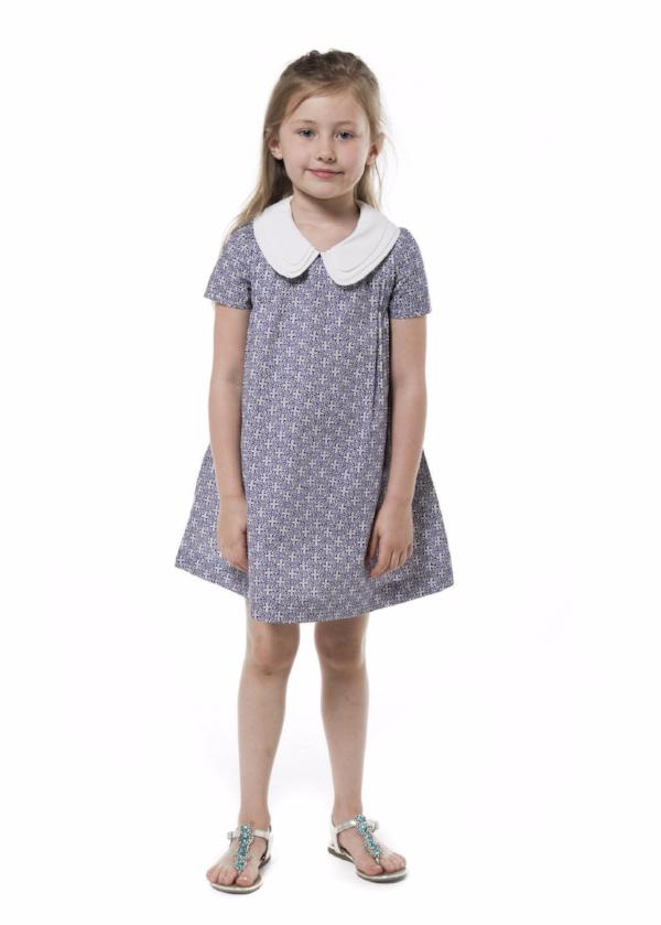 Three Collars Girl Dress - Blue Sitelle