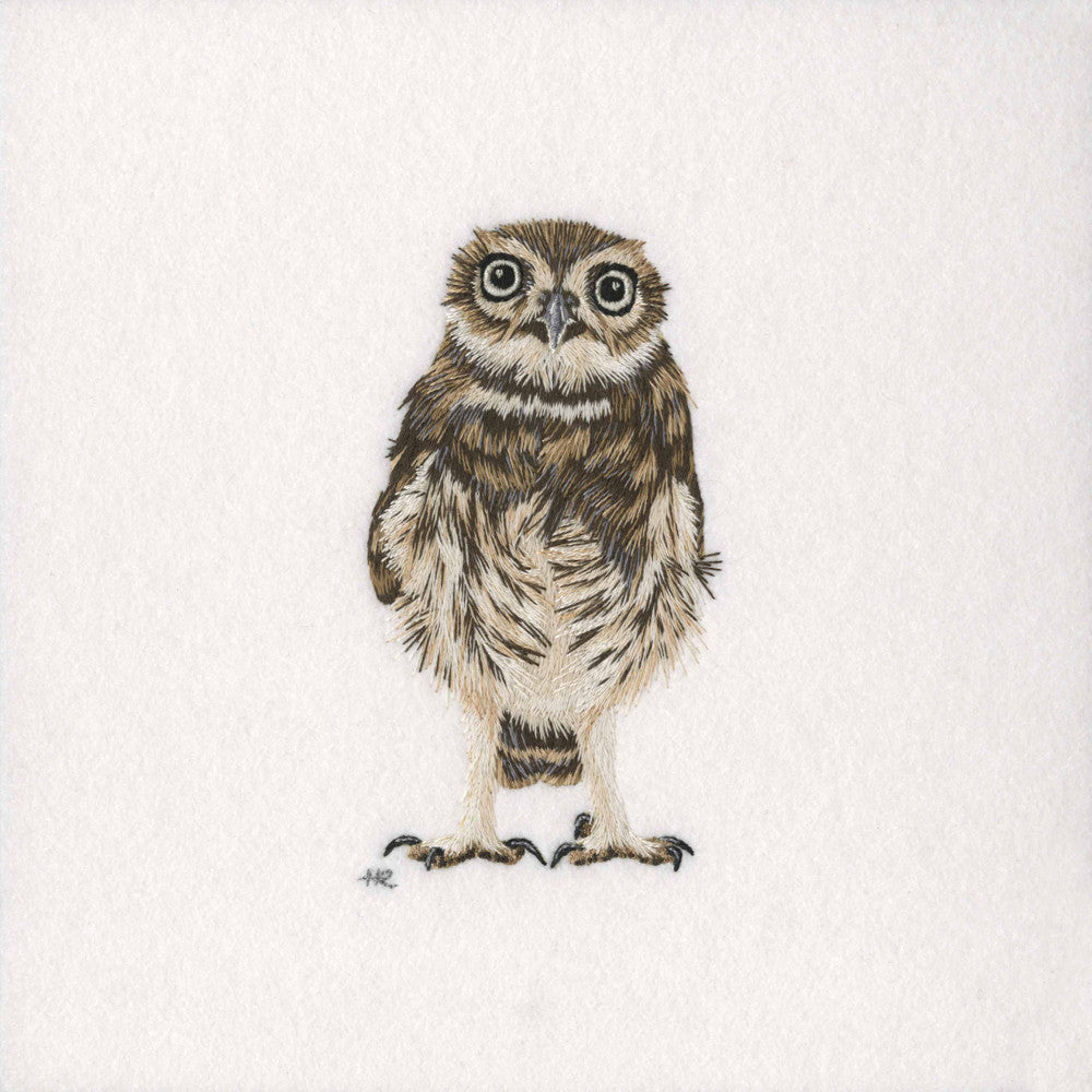 British Wildlife: Little Owl - Original Hand Embroidery