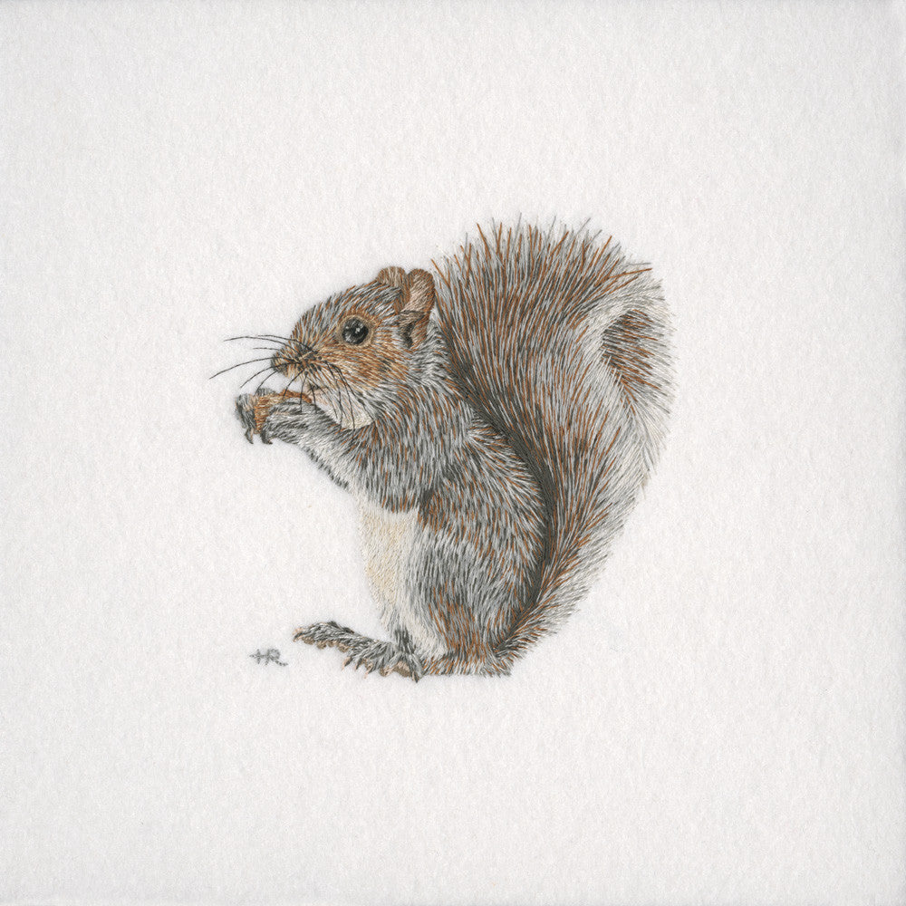 British Wildlife: Grey Squirrel - Original Hand Embroidery