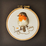 Garden Birds: Robin - Original Hand Embroidery