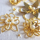 Whitework And Goldwork Flowers