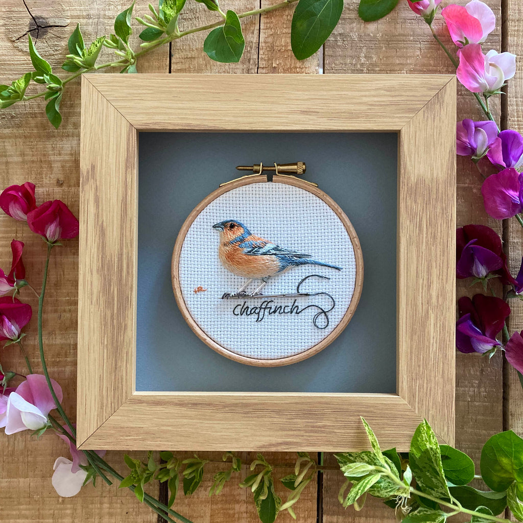 Garden Birds: Chaffinch - Original Hand Embroidery
