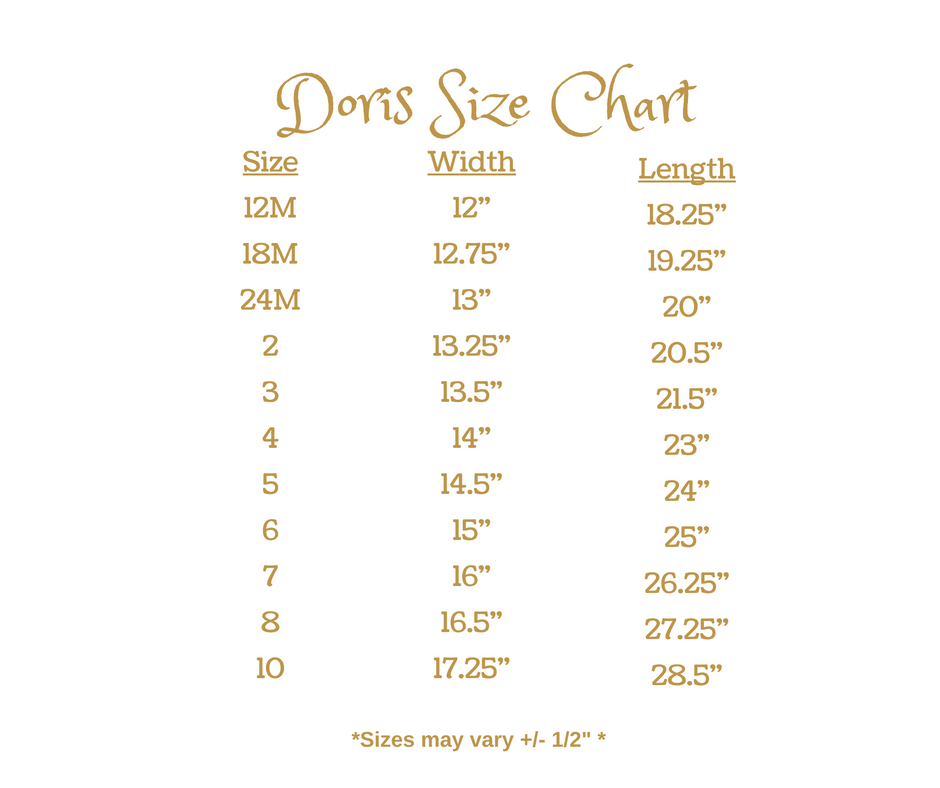 Gameday by Wind Charmer - Doris Size Chart