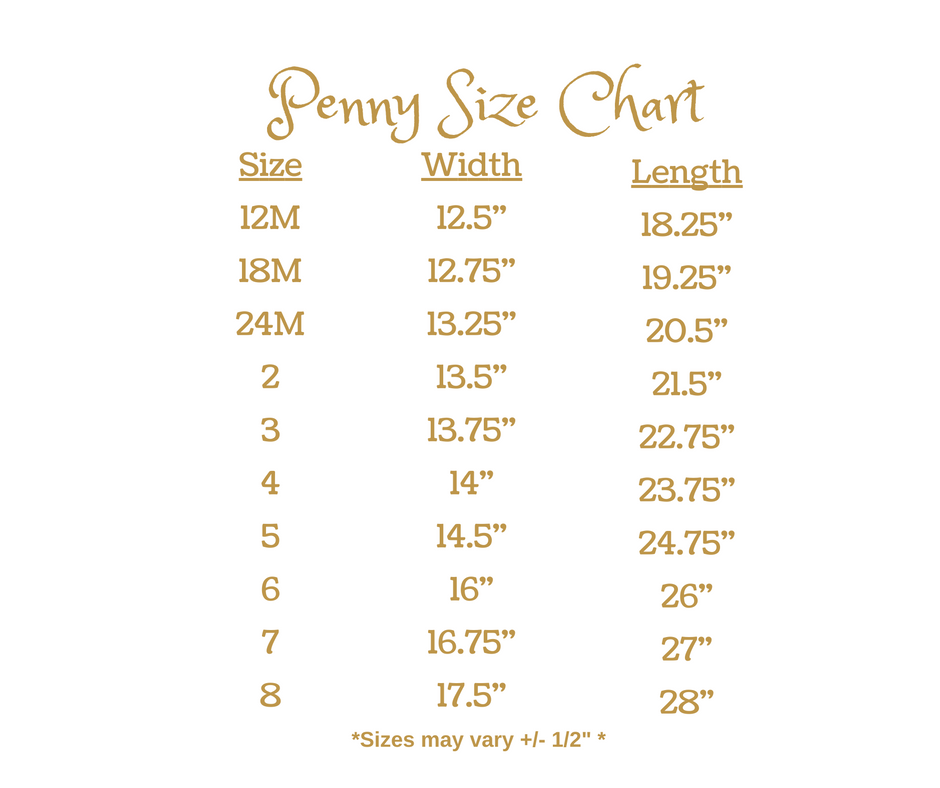 Gameday by Wind Charmer - Penny Size Chart