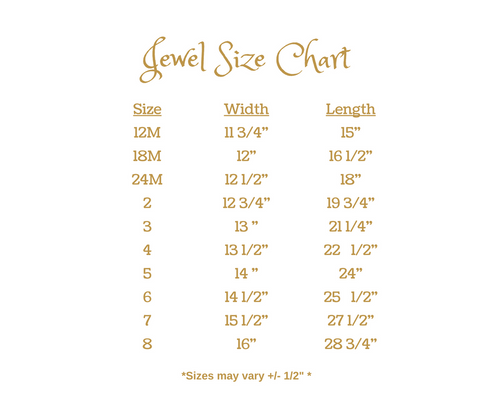 Jewel dress by Wind Charmer Size Chart - 12M to 8Y