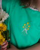 Wind Charmer Frances in Emerald, daisy embroidery, pre-order