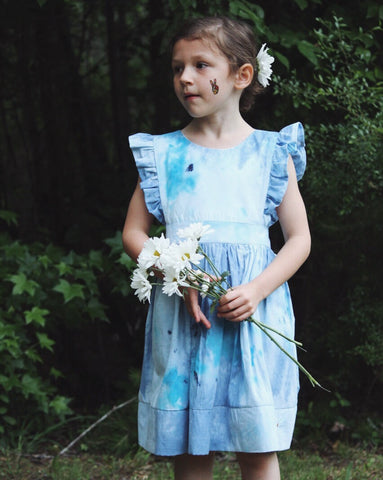 Wind Charmer Tie Dye {Pearl} Penny with matching bow. Summer dress, blue tie dye vintage inspired pinafore dress. Beach dress for girls.