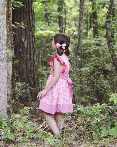 Wind Charmer Cherry Penny with pigtail bow set. Summer dress, pink with red cherries.