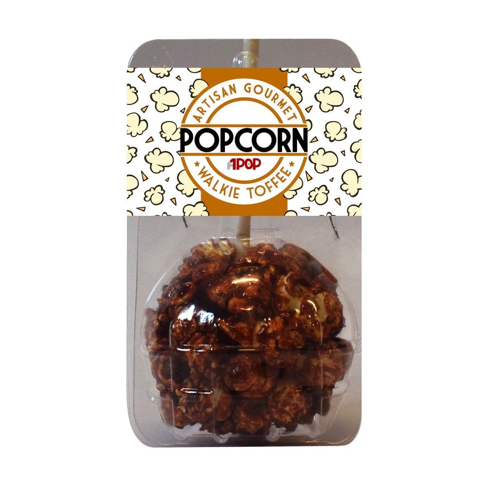 Toffee Popcorn Balls on a Stick