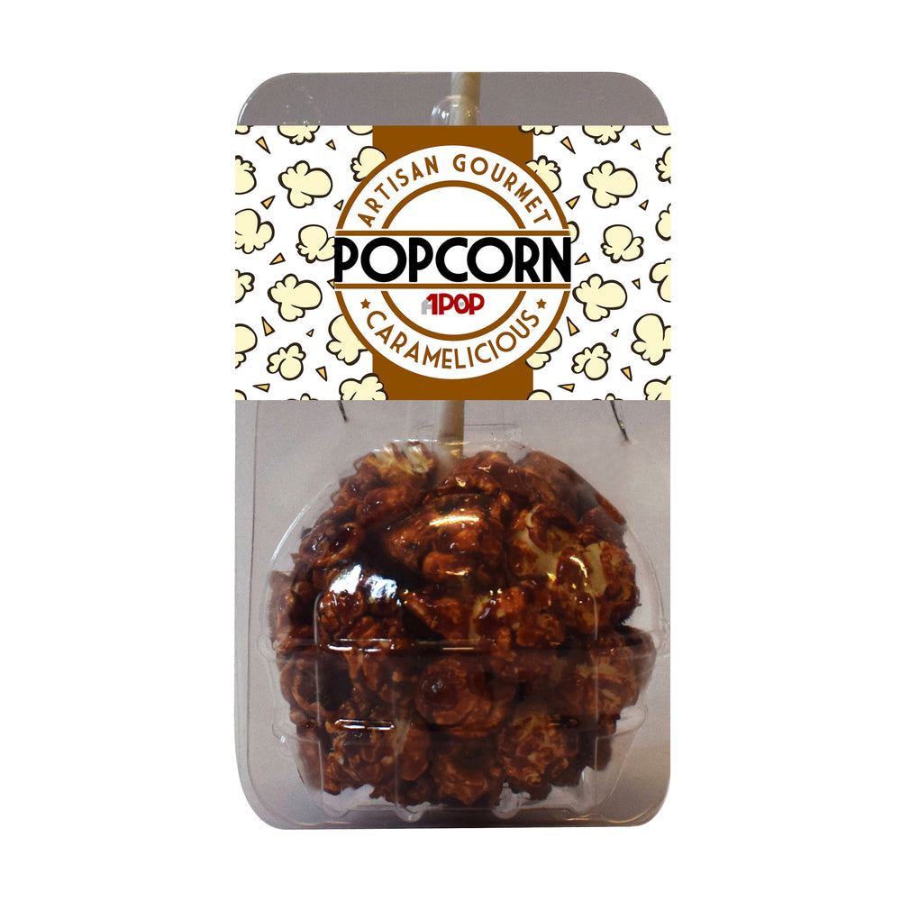 Caramel Popcorn Balls on a Stick