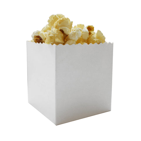 Small Plain White Popcorn Boxes