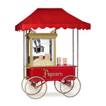 red awning with frame and poles attached to a red popcorn cart with four wheels