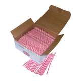 open box containing many red and white striped bag ties