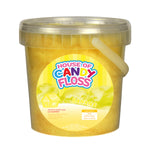 small tub filled with yellow candy floss