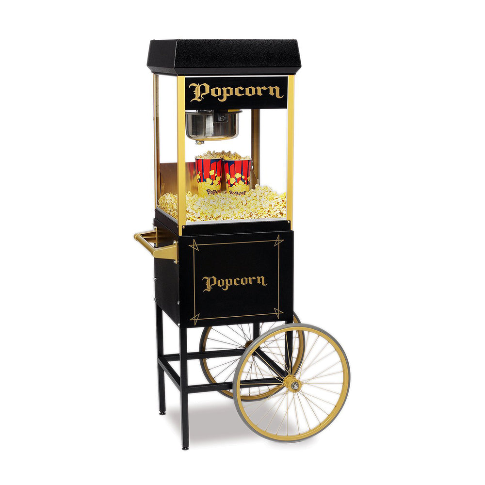 black popcorn machine on top of a matching black popcorn cart with two wheels