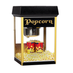 popcorn machine with black dome and gold corner posts