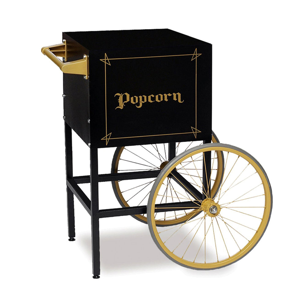 "black popcorn cart with gold vintage ""popcorn"" lettering and two wheels"