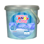 large tub filled with blue candy floss