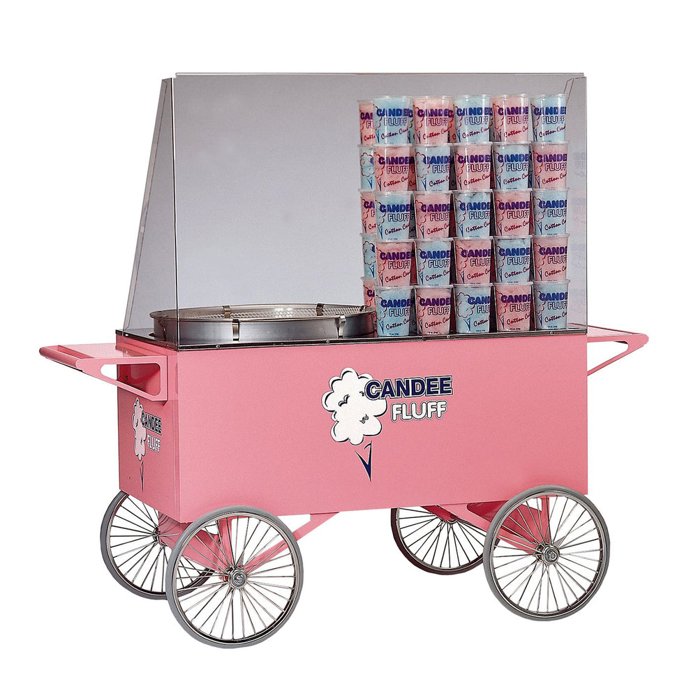 large pink candy floss cart with ample selling room, two shelves on each end and four wheels