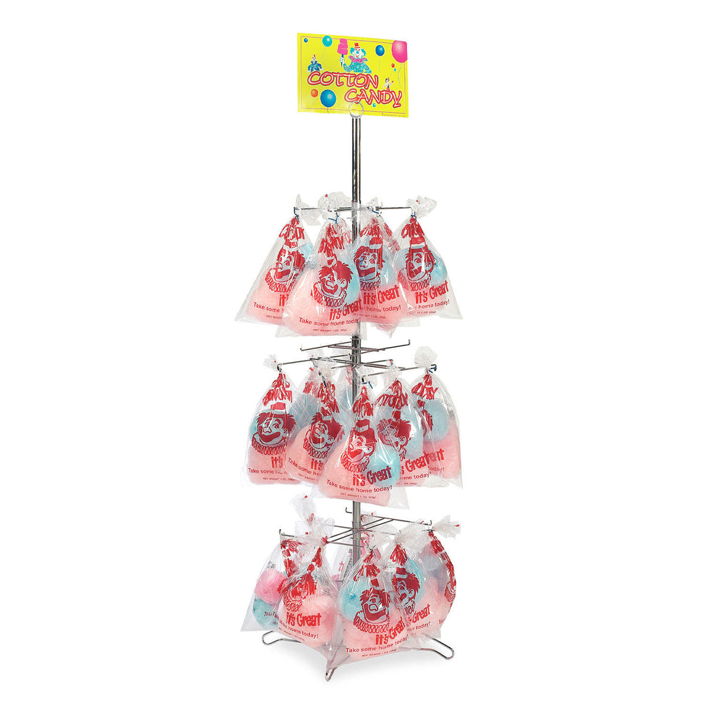 merchandising tree with racks holding candy floss bags and a yellow candy floss poster on top