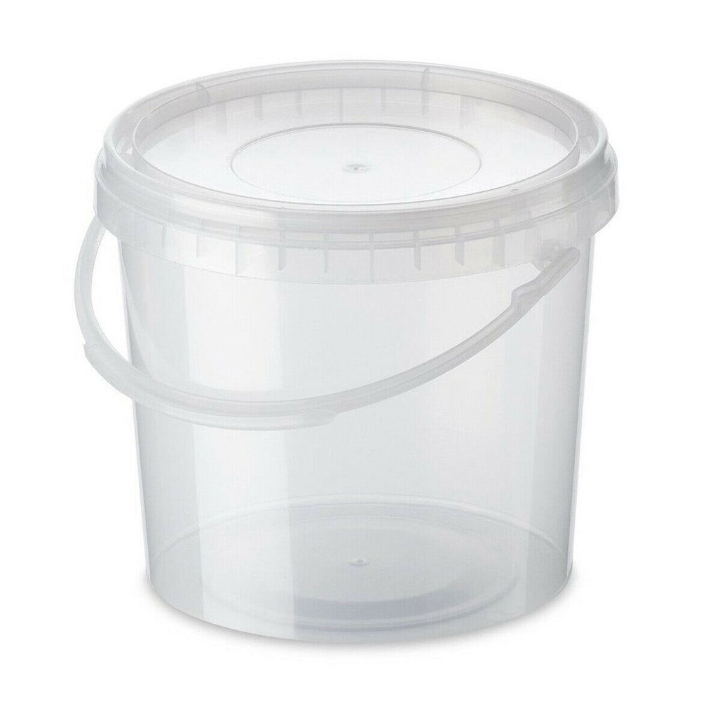 clear bucket with lid and handle