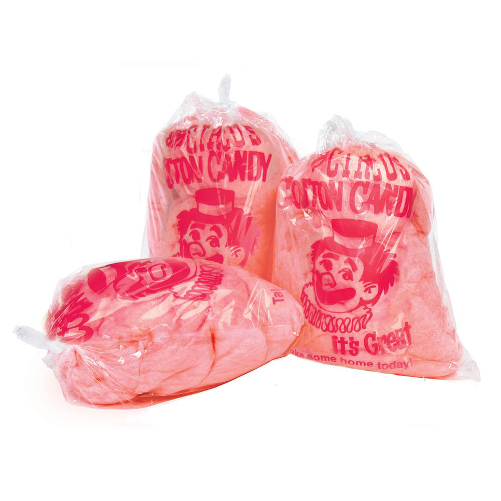 candy floss bags with red clown print